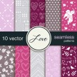 10 seamless vector patterns. The theme of romance. Patterns for Valentine's Day. Wedding patterns. — Stock Vector #63758789