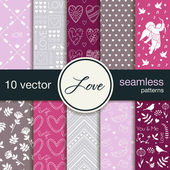10 seamless vector patterns. The theme of romance. Patterns for Valentine's Day. Wedding patterns. — Stock Vector