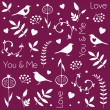 Abstract floral pattern with birds, hearts, leaves of trees, flowers and berries. Romantic seamless vector pattern for Valentine's Day or wedding. — Stock Vector #63918375