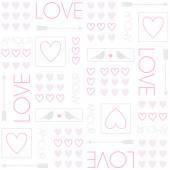 Μοτίβο για συσκευασία δώρου. Πουλιά και καρδιές. Ρομαντικό άνευ ραφής διάνυσμα μοτίβο για ημέρα του Αγίου Βαλεντίνου ή γάμου. — Διανυσματικό Αρχείο