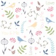 Abstract floral pattern with birds, hearts, leaves of trees, flowers and berries. Romantic seamless vector pattern for Valentine's Day or wedding. — Stock Vector #63925923