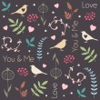Abstract floral pattern with birds, hearts, leaves of trees, flowers and berries. Romantic seamless vector pattern for Valentine's Day or wedding. — Stock Vector #63925991
