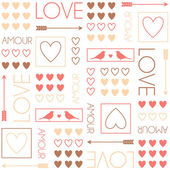 Pattern for gift wrapping. Birds and hearts. Romantic seamless vector pattern for Valentine's Day or wedding. — Stock Vector