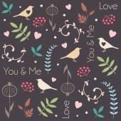 Abstract floral patroon met vogels, harten, bladeren van bomen, bloemen en bessen. Romantische naadloze vector patroon voor Valentijnsdag of bruiloft. — Stockvector