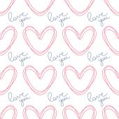 Circled the contour hearts. Romantic seamless vector pattern for Valentine's Day or wedding. — Stock Vector