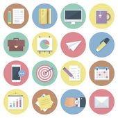 Modern flat colorful vector business icons set. Isolated on white background. — Vector de stock