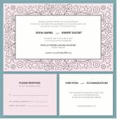 Wedding invitation card with a outline pattern and R.S.V.P. — Stock Vector