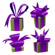 Collection of color gift boxes with bows and ribbons. — Vector de stock  #59912359