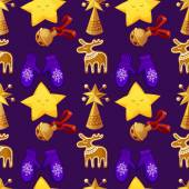 Seamless vector pattern in Christmas style with Christmas items. Background in cartoon style. — Vettoriale Stock