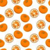 Seamless vector pattern with tangerines. — Stock Vector