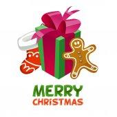 Festive Christmas items for postcards. — Stock Vector