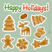 Seamless vector pattern with Christmas cookies . — Stock Vector