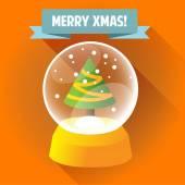 Christmas glass ball with a Christmas tree inside. — Stock Vector