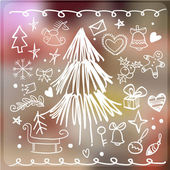 Set of Christmas items drawing freehand pencil style. — Stock Vector