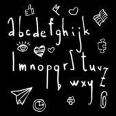 Set of vector hand drawn alphabet. — Stock Vector
