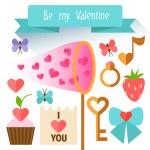 Items Valentine's Day. Flat illustration. — Stock Vector #62042159