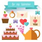 Items Valentine's Day. Flat illustration. — Stock Vector #62042171