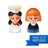 Set of people occupations icons. Flat. chef, business woman — Stockvector
