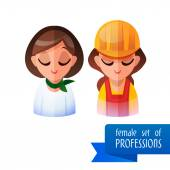 Set of people occupations icons. Flat. teacher, builder — Vector de stock