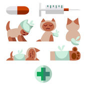 A set of flat icons pets of Veterinary with a cat. — Stock Vector
