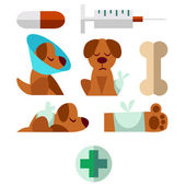 A set of images on the theme of Veterinary with a dog. — Stockvector