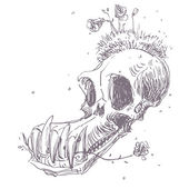 Hand drawn illustration of animal skull. — Stock Vector