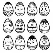 Set of smiley icons of eggs: different emotions. — Stock Vector