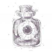 Hand drawn illustration of eyeball in a bottle. — Stock Vector