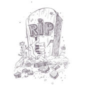 Hand drawn illustration of grave. — Stock Vector