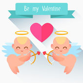 Greeting Card with little cute angels. — Vector de stock