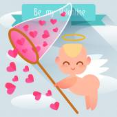 Happy Valentine's Day. Cute angel style flat. — Stock Vector