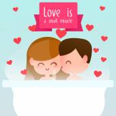 Greeting Card with couple in love boy and a girl. — Stok Vektör