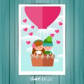 Greeting Card with couple in love boy and a girl. — Stock Vector