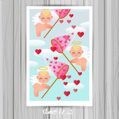 Greeting Card with little cute angels. — Stock Vector