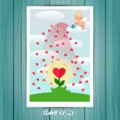 Greeting Card with angel with a watering can — Stock Vector
