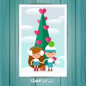 Couple in love boy and a girl under Christmas tree — Vector de stock