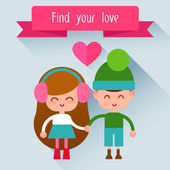 Couple in love boy and a girl. — Stock Vector