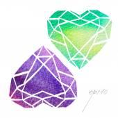 Watercolor diamonds or crystals — Stock Vector