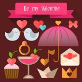 Items Valentine's Day. Flat illustration. — Vettoriale Stock