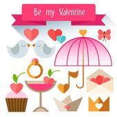 Items Valentine's Day. Flat illustration. — 图库矢量图片