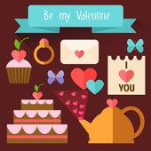 Items Valentine's Day. Flat illustration. — Stock Vector