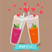 Postcard Valentine's Day.Two  glasses  of fresh juice — Stock Vector