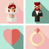 Wedding set Groom. Bride. — Vecteur