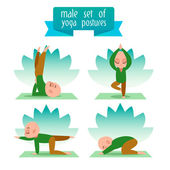 A set of flat icons yoga poses. — Stock Vector