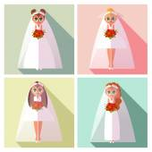 A set of pictures on the wedding theme — Stock Vector
