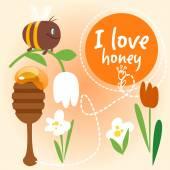 Set of cartoon natural honey. — Stock Vector
