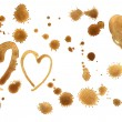 Traces of a coffee. Splashes  and hearts — Stock Vector #66076435