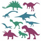 Colorful dinosaur silhouettes — Stock Vector