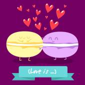 Love and hearts. Comic food. — Stock Vector