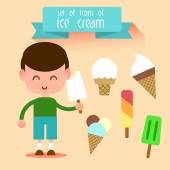 Set of ice-cream with boy style flat. — Stock Vector